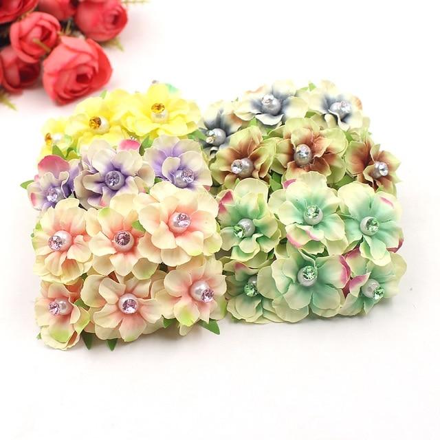 6pcs 3.5cm silk chrysanthemum bricks artificial flowers bouquet ...