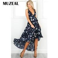 MUZEAL Summer Deep V Neck Dark Blue Dress Floral Print Ruched Ruffle High Low Swing Dress