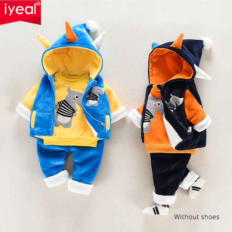 IYEAL Baby Boy Clothing Sets Fashion Cartoon Pattern Winter Warm Toddler Infant Vest + Shirt + Pants 1 2 3 4 Years Kid Clothing baby girl boy clothing sets 2018 cartoon pattern autumn winter warm toddler vest shirt pants 1 2 3 4 years kid clothing suit