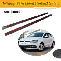 Carbon Fiber Side Skirts Lip Chin Spoiler for Volkswagen VW POLO Standard Hatchback 4 Door Only 14 16 Non GTI R Car Accessories