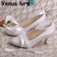 Handmade Ribbon Lace up Shoes for Bride Ladies Wedding Shoes White Satin Pumps