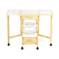 Portable Folding Kitchen Rolling Tile Top Drop Leaf Storage Trolley Cart Simple Fashion Kitchen Island Trolley Shelf Rack HWC