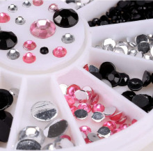 ZP-014 1 Box Pink Clear Black Nail Rhinestones 1.5/2/3/4mm 4sizes mixed Studs Manicure 3D Art Decorations in Wheel