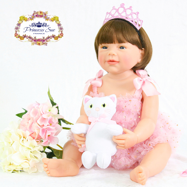 d940213d0 Baby Reborn 55cm Full Silicone Body Reborn Baby Doll Toy Like Real 22inch  Newborn Girl Princess Babies Doll Bathe Toy Kid Gift