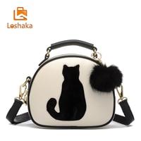 Loshaka Cat Printing Bag Ladies Crossbody Bags Circle Famous Brand Women PU Leather Handbags With Fur