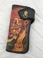 Высокое значение из натуральной коровьей кожи ручной работы мужской длинный Стиль монет Карманный карт кошелек Дракон выгравированы дизай