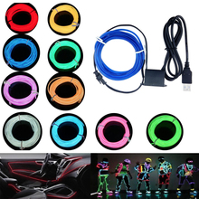 5m Neon Light Dance Party Decor LED lamp Flexible EL Wire Rope Tube Waterproof Strip With Controller