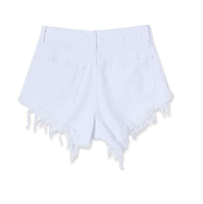 ファッション綿ホットデニムショーツ女性のセクシーな穴白擦り切れエッジハイウエストショートジーンズ 2018 カジュアルポケットがショーツ