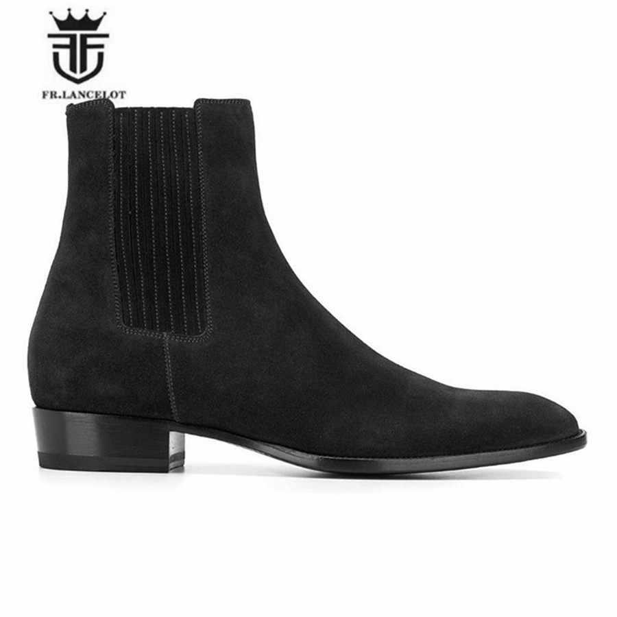 Британская мода ручной работы клиновидная платформа острый носок деловой высшего уровня повседневные ботинки челси замшевые коричневые мужские дизайнерские кожаные ботинки