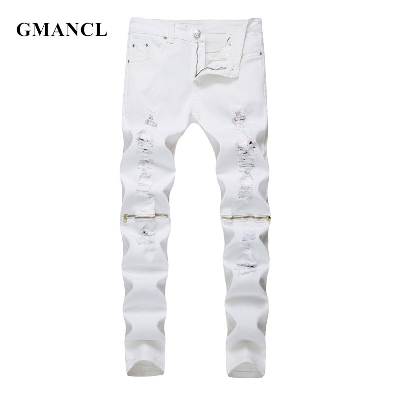 GMANCL New Fashion Mens Knee Zipper Ripped Jeans Cotton Red Black White Elastic Slim Men Motorcycle Denim Joggers Skinny Jeans