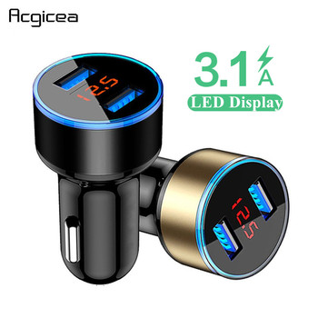 3.1A Dual USB Car Charger Com Display LED Universal Mobile Phone Car-Charger para Xiaomi Samsung S8 iPhone 6 6s 7 8 Plus Tablet 1