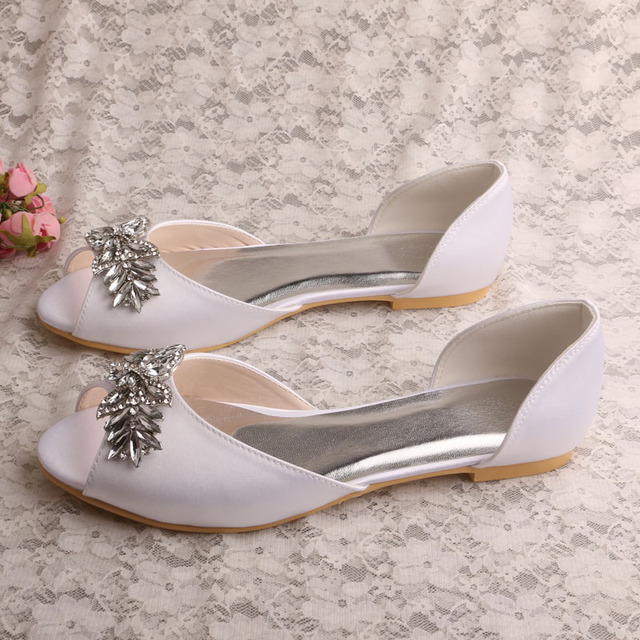 Peep Toe White Satin Flat Wedding Shoes