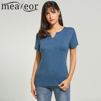 Meaneor New Fashion Women Casual Loose Comft Fit V Neck Short Sleeve Basic Solid T Shirt