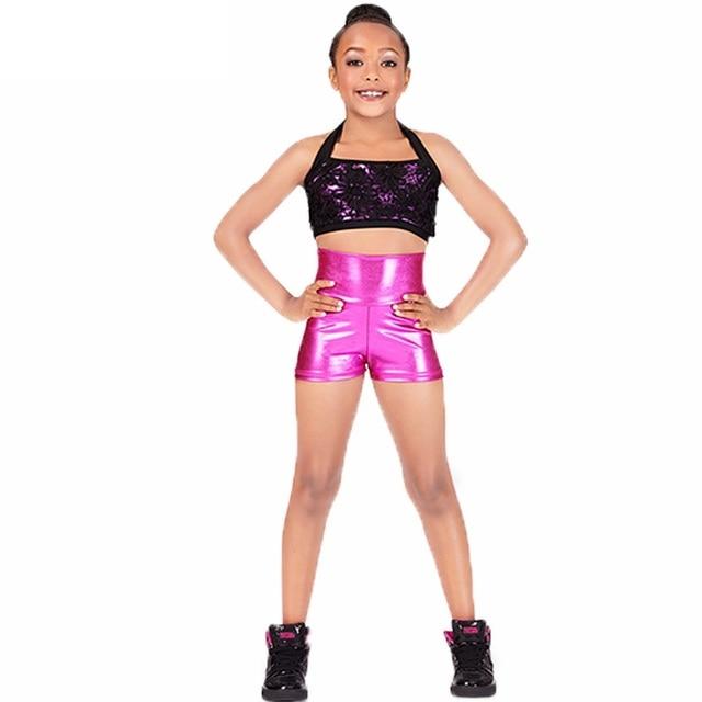 caf29ba6ab1e Girls Shiny Metallic ShortsHigh Waist Dance Performance Shorts Black  Gymnastics Ballet Dance Shorts Bottoms Class Performance