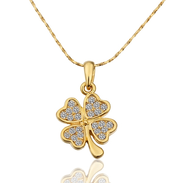 Plated gold four leaf clover pendant necklace with zircon fashion plated gold four leaf clover pendant necklace with zircon fashion jewelry top quality beautiful birthday aloadofball Choice Image