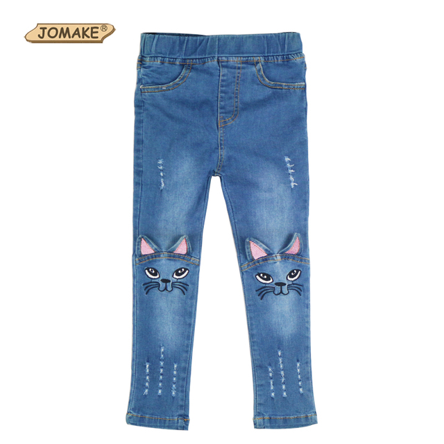 c07de05319f Girls Jeans Character Cat Pattern Distrressed Skinny Ripped Jeans For Kids  Baby Girls Jeans Princess Cute