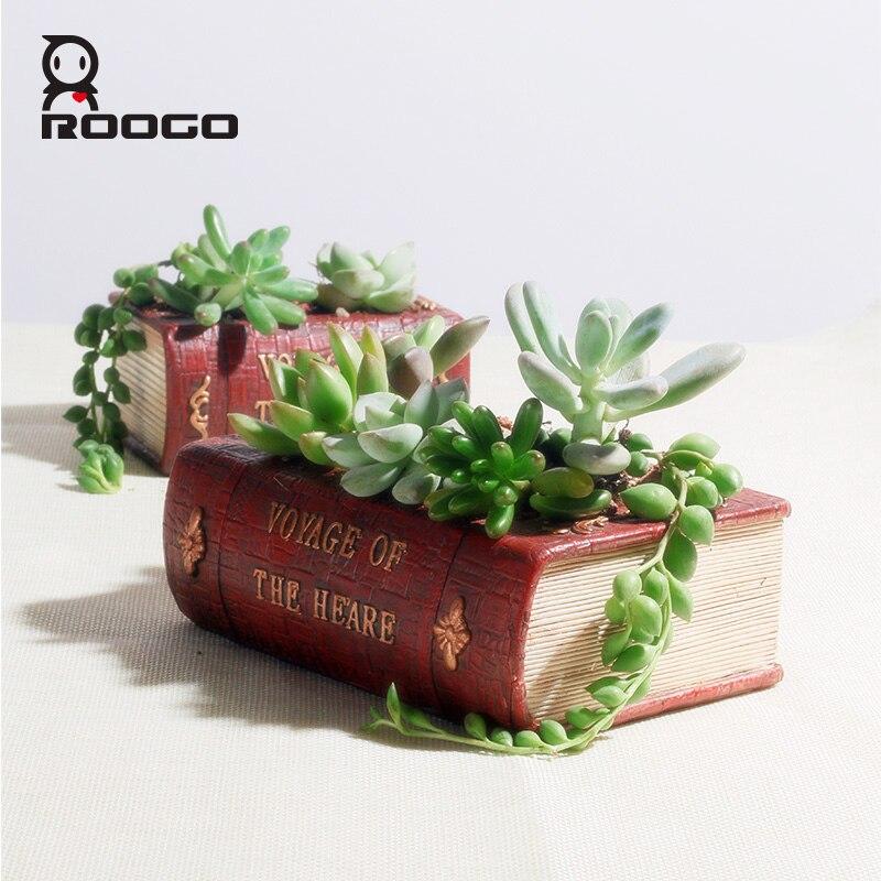ROOGO Résine pot de fleur livre forme succulentes pots Europe type restauration planteur creative mini plante en pot petit bureau de bureau