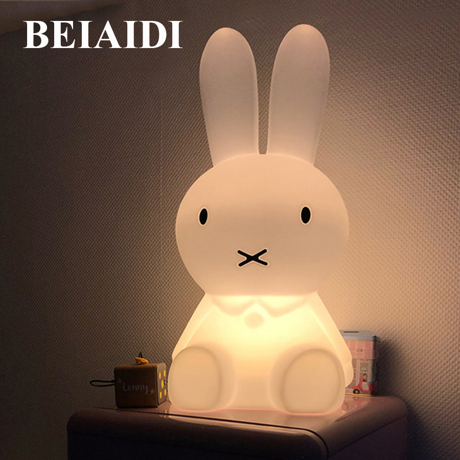 BEIAIDI 50CM Cute Rabbit LED Night Light Cartoon Animal Bedroom Desk Table Lamp Baby Kids Children Sleeping Light Best Christmas цена