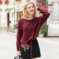 wine sweater women knitted sweaters woman oversized long fashion 2019 spring autumn Bat Sleeve Loose Lace with a Hair Substitute