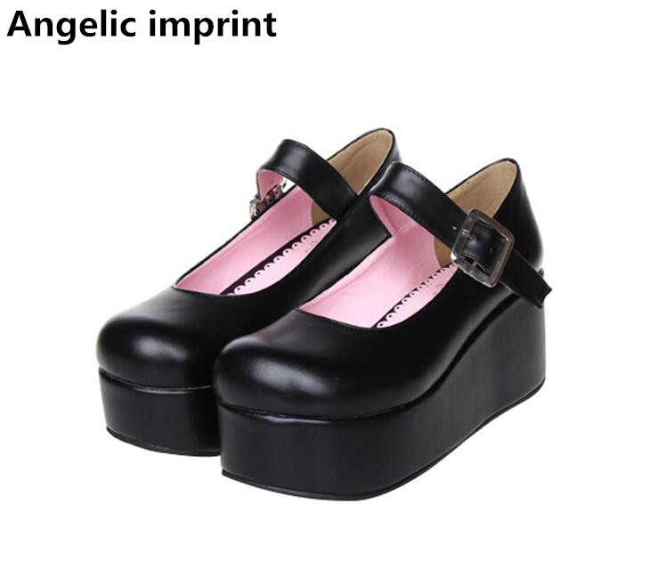 Angelic imprint woman mori girl lolita cosplay shoes lady high trifle heels pumps women princess dress
