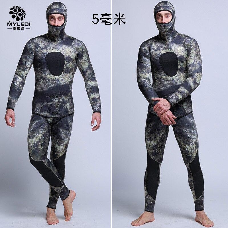 Men's 5mm SCR Full Suit Camouflage two Piece Splicing Diving Suits Surfing snorkel swimsuit Split Suits combinaison surf wetsuit недорго, оригинальная цена