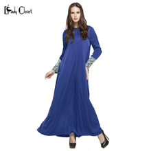 Blue Abaya muslim casual dress Turkish women clothing islamic abayas musulmane vestidos longos clothes dubai kaftan long giyim