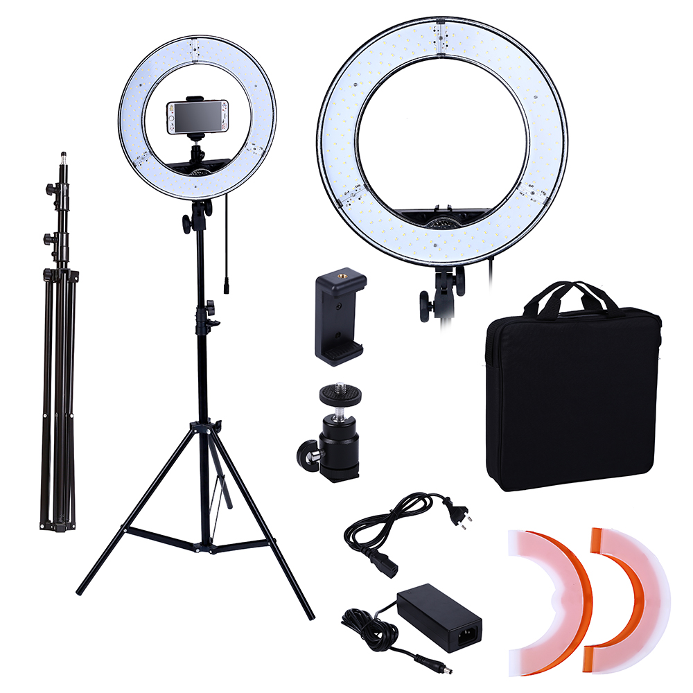 Camera Photo/Studio/Phone/Video 180 LED Ring Light 5500K Photography Dimmable Ring Lamp With Mirror/Tripod wire