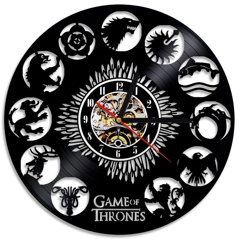 Game Of Thrones 3D Record Wall Clock  Hollow Vinyl Record Design  Wall Clock Antique Style Home Decor Clock