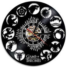 Game of Thrones 3D Hollow Record Clock Movie Characters Vinyl Record Design Wall Clock Antique Style Home Decor Clock
