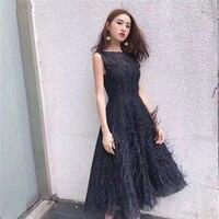 Summer Women Elegant Beading Party Dress Tassel Feather Patchwork Midi Sleeveless Tank Dresses