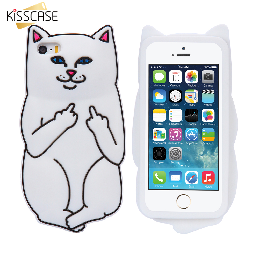 KISSCASE Soft Silicon Cat Case For font b iPhone b font 7 6 6s Plus 5