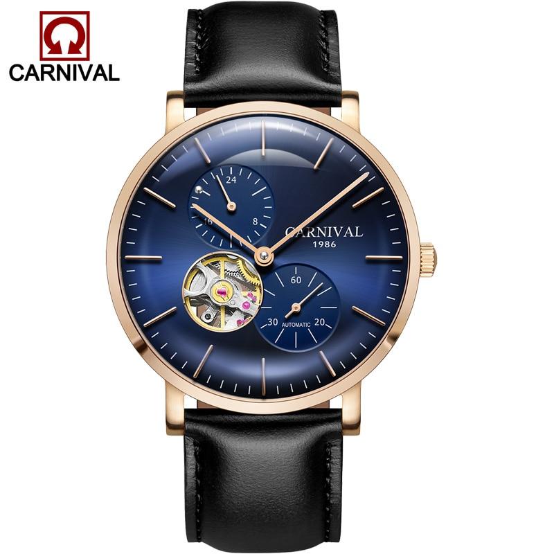 Carnaval ultra-mince tourbillon auto montres mécaniques hommes marque de luxe en acier complet étanche hommes montre horloges relogio kol saati - 2