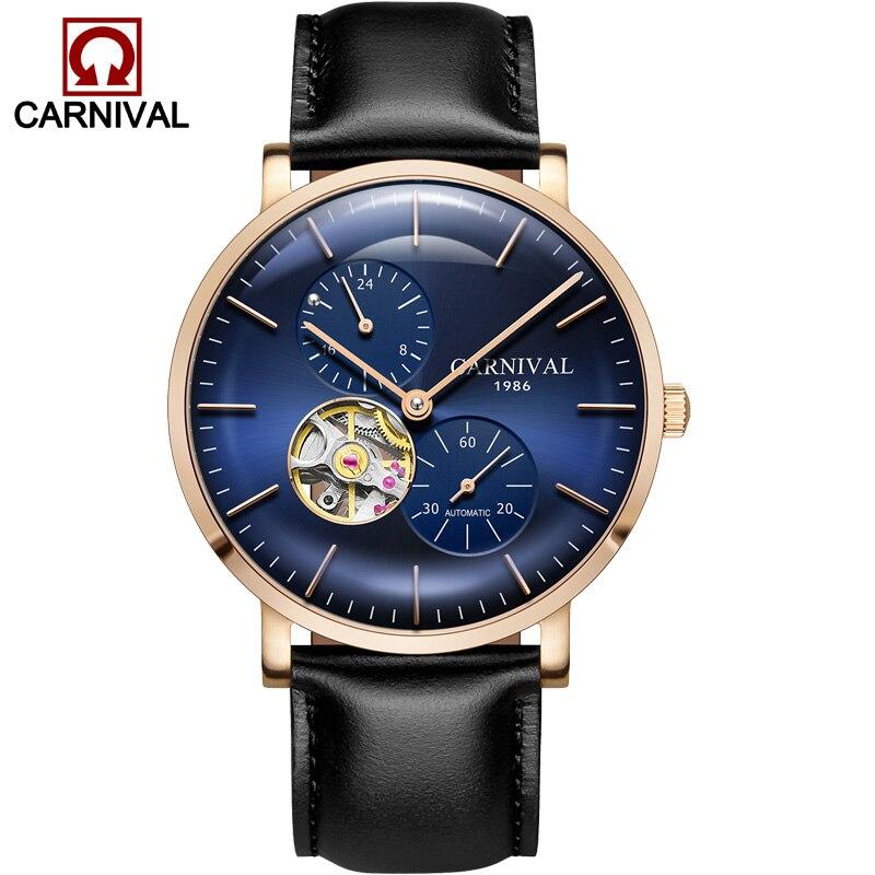 Karnawał ultracienkich tourbillon automatyczne zegarki mechaniczne mężczyźni luksusowa marka pełna stali nierdzewnej wodoodporny zegarek męski zegary relogio kol saati w Zegarki mechaniczne od Zegarki na  Grupa 2