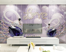 beibehang Customized modern personality decorative painting silky 3d wallpaper swan jewelry background wall papers home decor