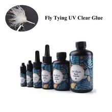 Colle UV Super claire pour attacher les mouches, appât de pêche mince et épais, colle en cristal UV à séchage rapide, 10/15/25/60g