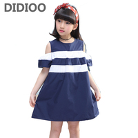 Kids Dresses For Girls Preppy Style Off Shoulder Girls Dresses Cotton Striped Teenage Princess Party Dress