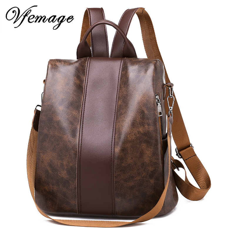 Vfemage Luxury Women Retro Leather Backpacks Female Multifuction Backpack Fashion School Bags for Girls Big Capacity Bookbag SacVfemage Luxury Women Retro Leather Backpacks Female Multifuction Backpack Fashion School Bags for Girls Big Capacity Bookbag Sac
