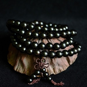 Image 2 - 6mm 8mm 10mm 12mm * 108 Perlen Ebenholz Buddhistischen Buddha Meditation Gebetskette Mala Armband frauen Männer Yoga Schmuck