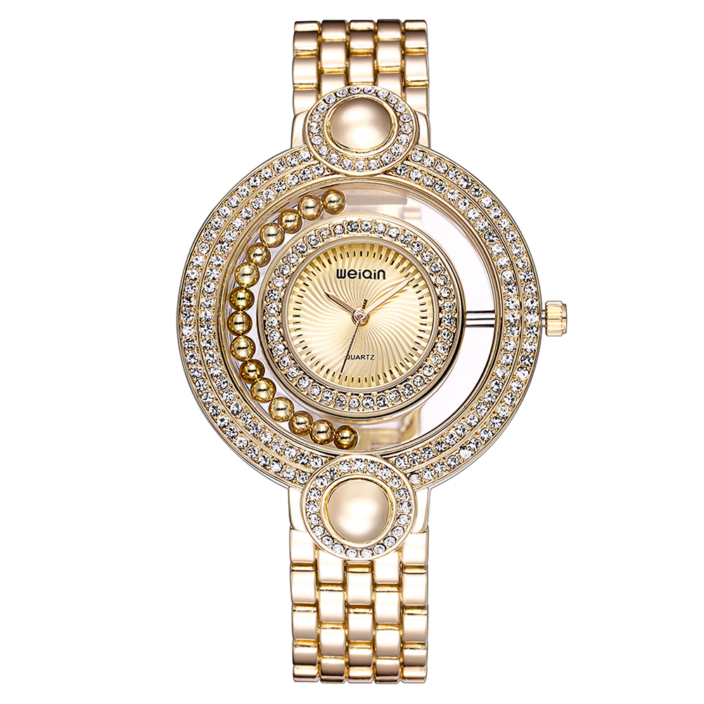 WEIQIN New Woman Rhinestone Crystal Watches Womens Ladies Beauty Bracelet Wristwatches Female Gold Dress Watch orologio