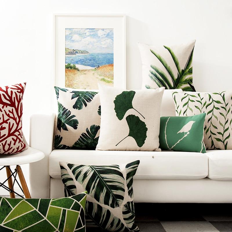 Decorative throw pillow cover case Tropical plants Flamingo green cotton linen seat cushion cover for sofa home decor almofadas