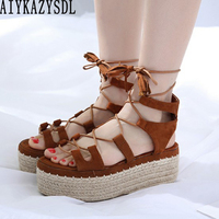 355f15a708b60 AIYKAZYSDL Women Cross Strap Sandals Ankle Wrap Strappy Gladiator Rome  Sandals Cane Hemp Straw Shoes Platform