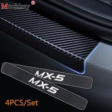 Parte Auto Per Mazda MX-5 MX 5 MX5 Auto Davanzale Del Portello Del Piatto Dello Scuff Piastra Soglia della Porta In Fibra di Carbonio Adesivo In Vinile accessori auto 4 pz