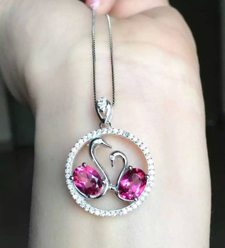 natural pink topaz stone pendant S925 silver Natural gemstone Pendant Necklace trendy Romantic couple swan women girl jewelry