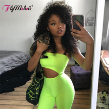 Flymokoii Hot Sale Sexy Women Strapless Playsuit Fluorescent Green Hollow Out Bodycon Bodysuit Backless Club Jumpsuit