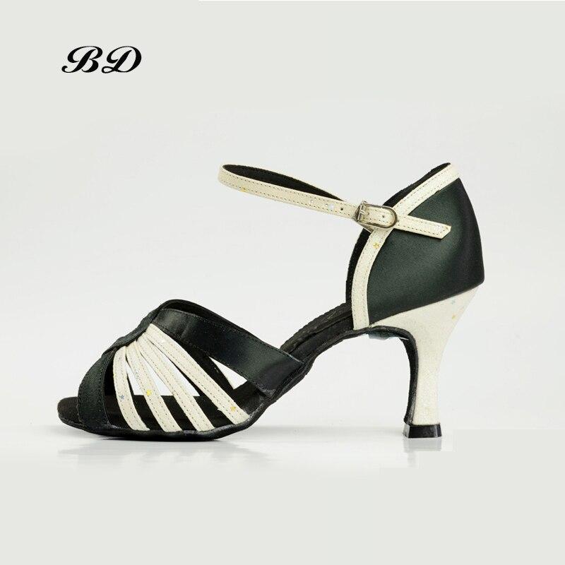 BD 2315 Dance Shoes Ballroom Women Latin shoes Dancing Shoe GIRL WOMAN Sandals High Heels SATIN BDDABCE Authentic SALSA BLACK