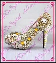 Aidocrystal Luxurious Pearl gold Crystal Wedding White Bridal Dress high heel Shoes