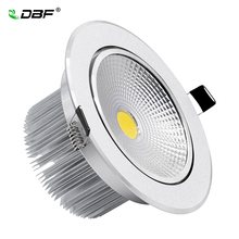 [DBF]Silver Body Round Dimmable LED Recessed Downlight 7W 9W 12W 15W 18W COB Ceiling Spot Light with LED Driver Indoor Lighting