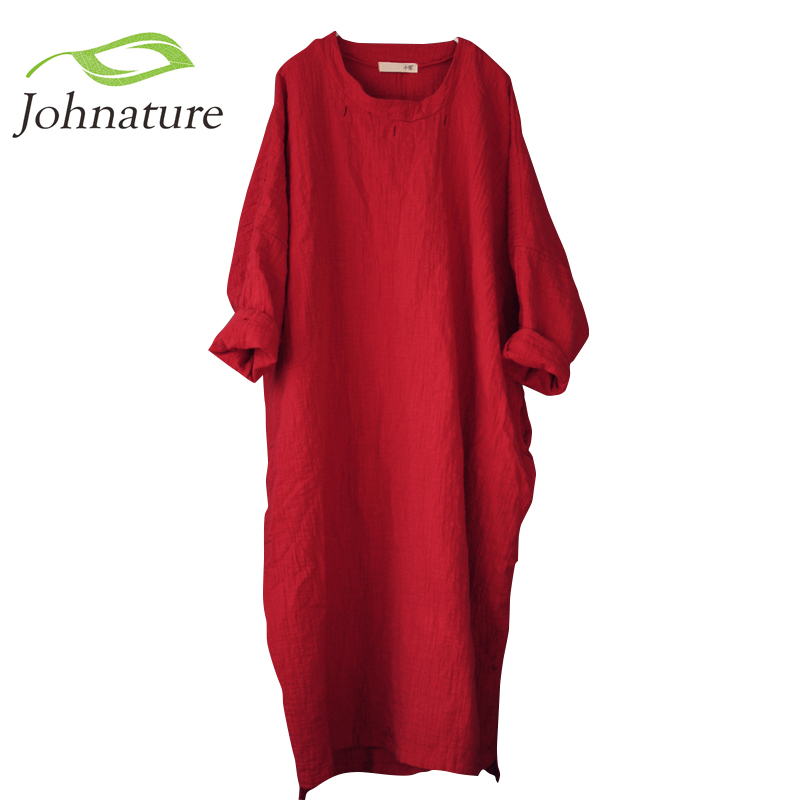 Johnature Women Vintage Maxi Dress 2018 Spring New Bat Sleeve Embroidery Cotton Linen Plus Size Robe Long Sleeve Long Dresses