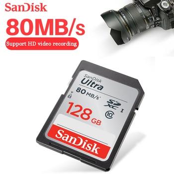 Original SanDisk Ultra SD card 64GB 128GB SDXC 16GB 32GB SDHC Class10 Memory Camera Card C10 80mb/s USH-1 Support FULL HD Video
