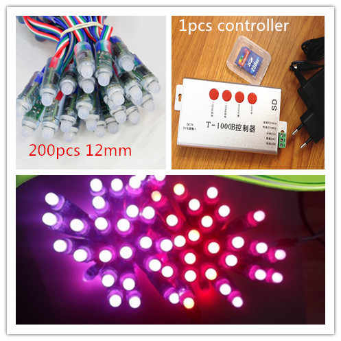 200 Pcs LED Lampu Pixel 12 Mm DC5V Tahan Air IP68 Pixel LED Strip Modul WS2811 + T1000B Programmable LED Controller dengan Kartu SD
